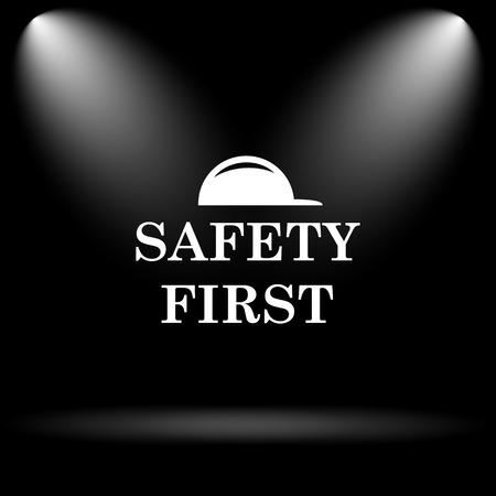 seguridad e higiene: SEGURIDAD primer icono. Botón de internet sobre fondo negro. Foto de archivo