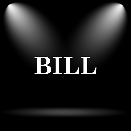 payable: Bill icon. Internet button on black background.