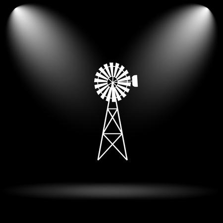 alternate: Classic windmill icon. Internet button on black background. Stock Photo