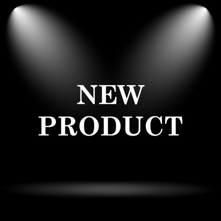 product icon: New product icon. Internet button on black background. Stock Photo