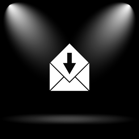 receive: Receive e-mail icon. Internet button on black background.