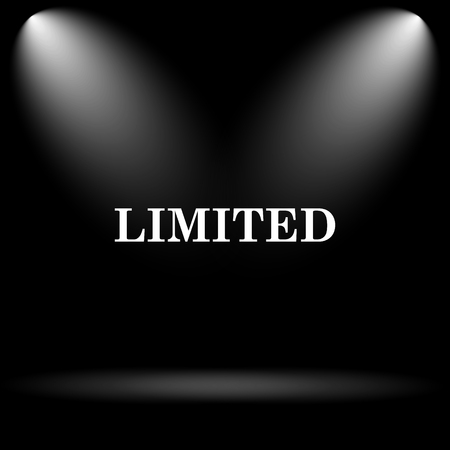 limited: Limited icon. Internet button on black background.