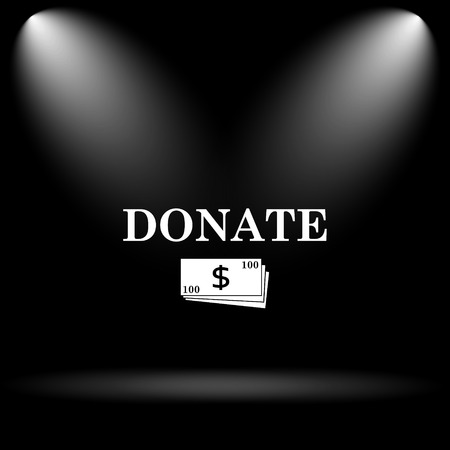 aiding: Donate icon. Internet button on black background.