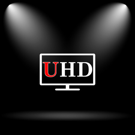 ultra: Ultra HD icon. Internet button on black background. Stock Photo