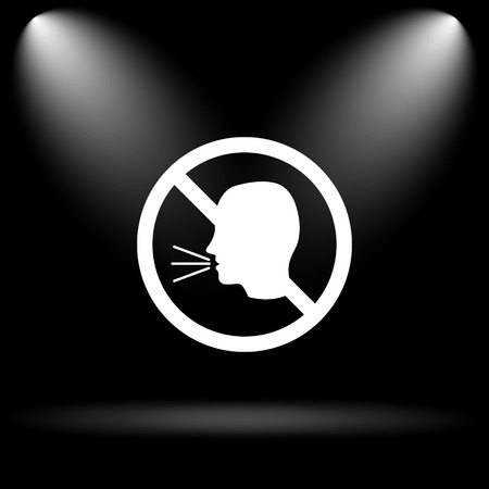 don't: No talking icon. Internet button on black background.