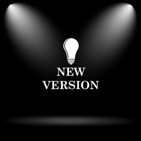 new and improved: New version icon. Internet button on black background.