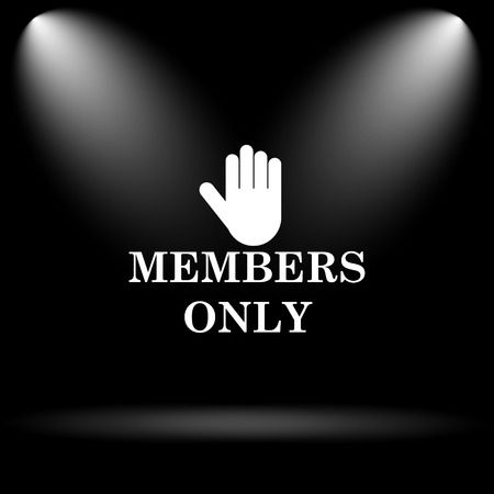 only members: Members only icon. Internet button on black background. Stock Photo