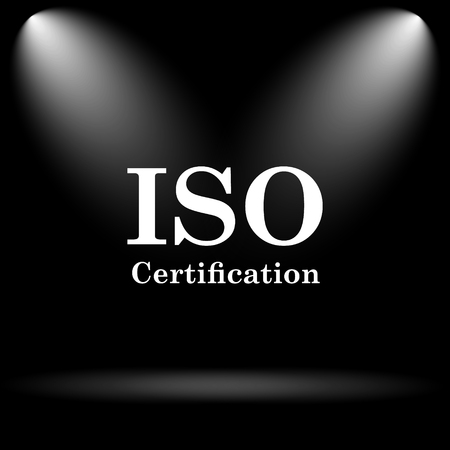 certification: ISO certification icon. Internet button on black background.