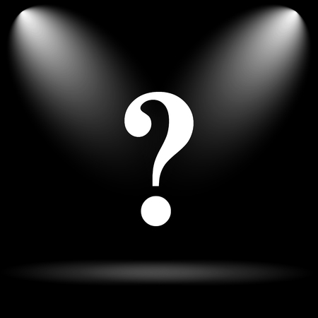 search query: Question mark icon. Internet button on black background. Stock Photo