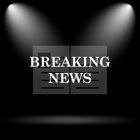 newscast: Breaking news icon. Internet button on black background. Stock Photo