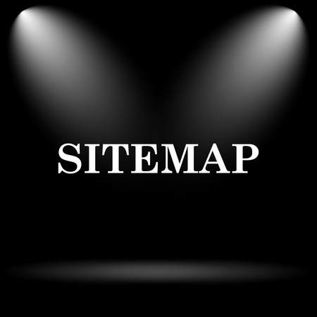 icons site search: Sitemap icon. Internet button on black background.