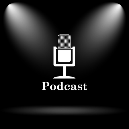 podcast: Podcast icon. Internet button on black background. Stock Photo
