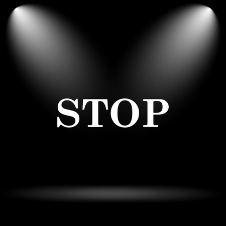 running off: Stop icon. Internet button on black background. Stock Photo