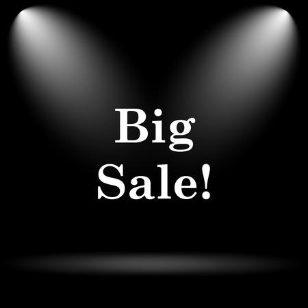 super market: Big sale icon. Internet button on black background.