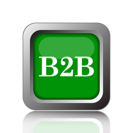 b2b: B2B icon. Internet button on green background. Stock Photo