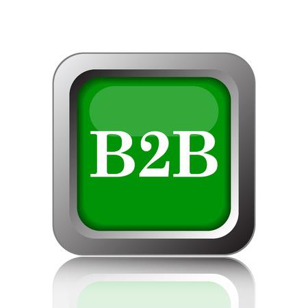 b2b: icono de B2B. botón de internet sobre fondo verde. Foto de archivo