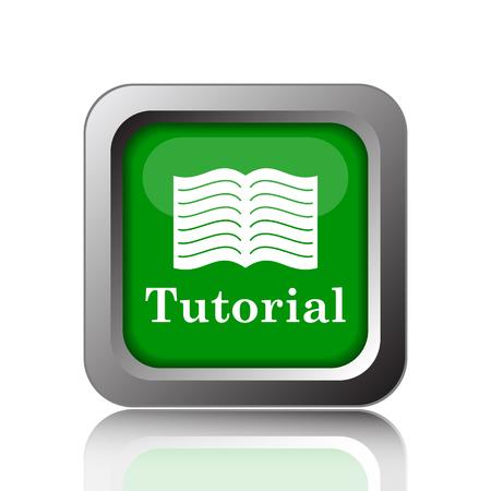 tutorial: Tutorial icon. Internet button on green background.