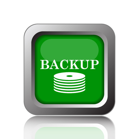 secure backup: Back-up icon. Internet button on green background.