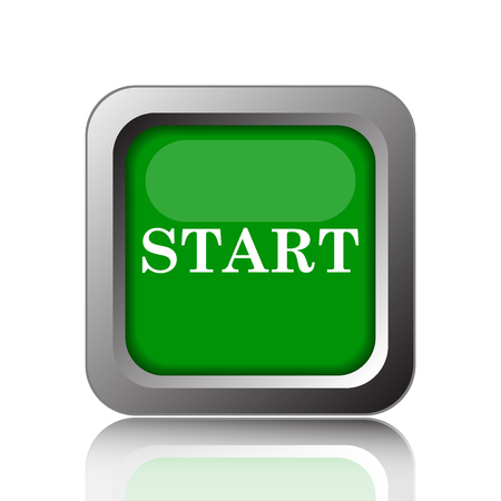 beginnings: Start icon. Internet button on green background. Stock Photo