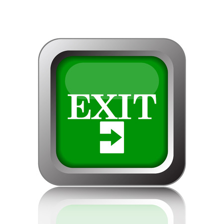 exit icon: Exit icon. Internet button on green background.