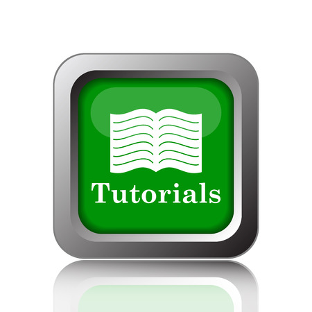 tutoriels: Tutorials icon. Internet button on green background. Banque d'images