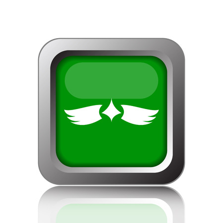 pacification: Wings icon. Internet button on green background. Stock Photo