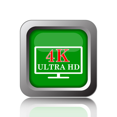 ultra: 4K ultra HD icon. Internet button on green background.