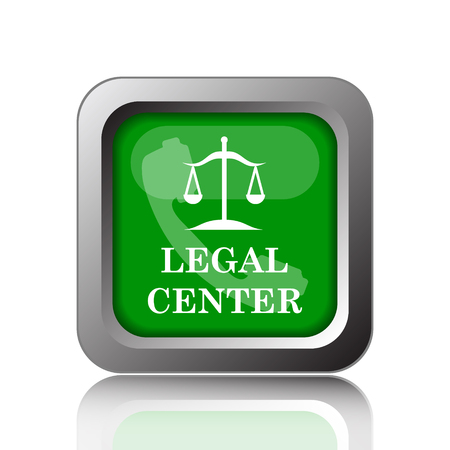 legal icon: Legal center icon. Internet button on green background.