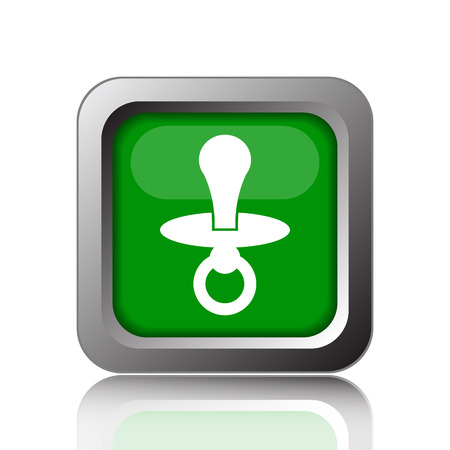 to reassure: Pacifier icon. Internet button on green background. Stock Photo