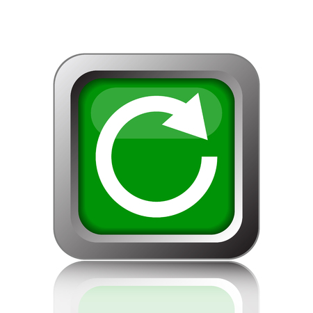 restoring: Reload one arrow icon. Internet button on green background. Stock Photo