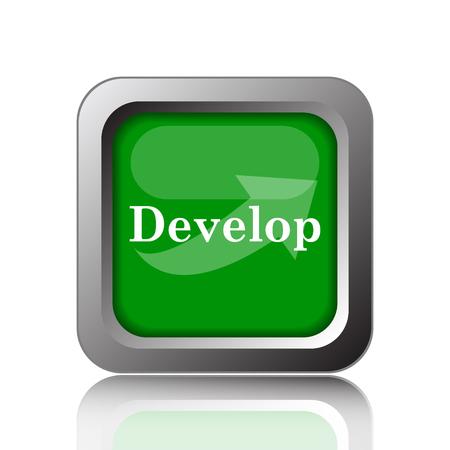 course development: Develop icon. Internet button on green background.