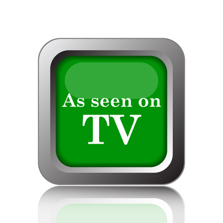 cliche: As seen on TV icon. Internet button on green background. Stock Photo