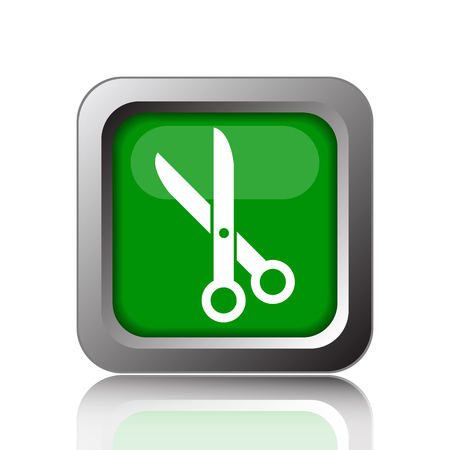 button icon: Cut icon. Internet button on green background.