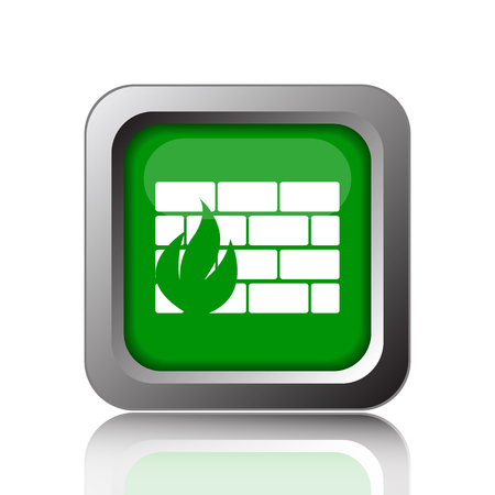 firewall icon: Firewall icon. Internet button on green background.