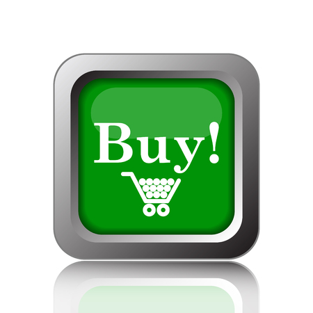 buy icon: Buy icon. Internet button on green background.
