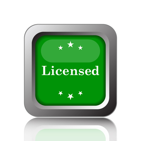 licensed: Licensed icon. Internet button on green background. Stock Photo