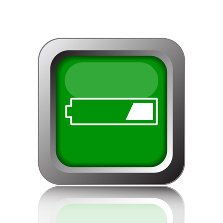 button batteries: 1 third charged battery icon. Internet button on green background.