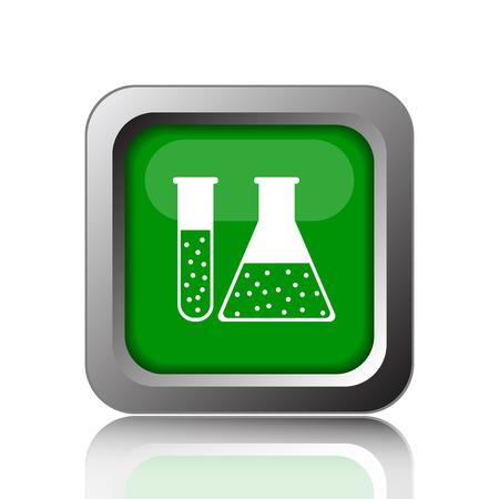 green chemistry: Chemistry set icon. Internet button on green background. Stock Photo