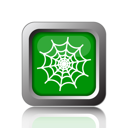spider web icon: Spider web icon. Internet button on green background. Stock Photo