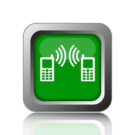 palmtop: Communication icon. Internet button on green background.