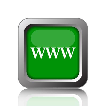 www icon: WWW icon. Internet button on green background. Stock Photo