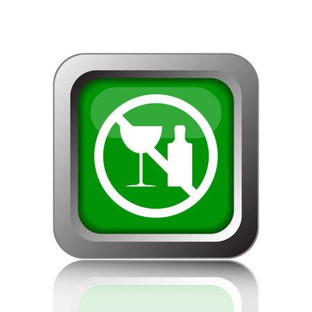 no alcohol: No alcohol icon. Internet button on green background. Stock Photo
