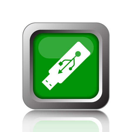 pendrive: Usb flash drive icon. Internet button on green background.