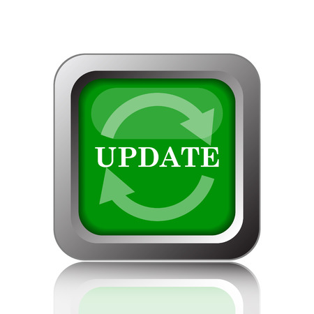 icon 3d: Update icon. Internet button on green background. Stock Photo