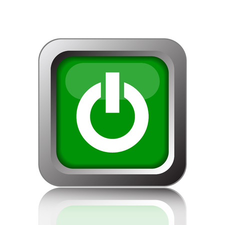 green power: Power button icon. Internet button on green background. Stock Photo