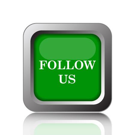 follow icon: Follow us icon. Internet button on green background. Stock Photo
