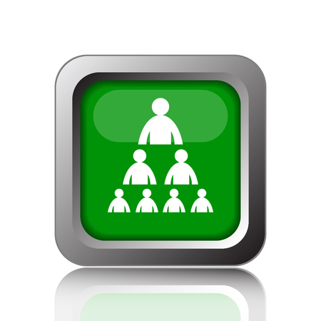 layers levels: Organizational chart with people icon. Internet button on green background.