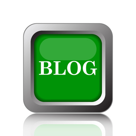 informing: Blog icon. Internet button on green background. Stock Photo