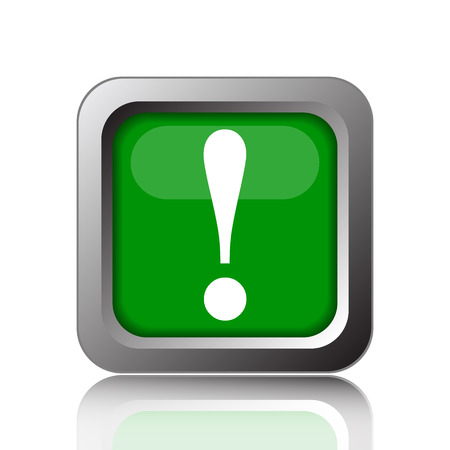 attention icon: Attention icon. Internet button on green background.
