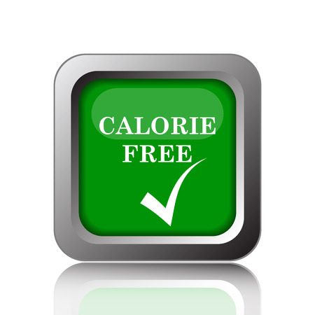 calorie: Calorie free icon. Internet button on green background. Stock Photo